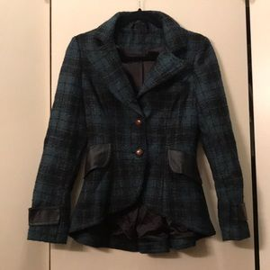 Green and Black Plaid Blazer Jacket